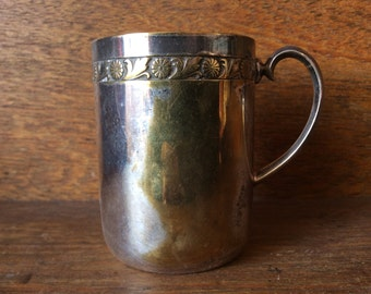 Vintage English small metal cup beaker mug circa 1920's / English Shop