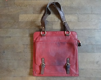 Vintage English Leather Red Hand Bag  3 Slots Shoulder Bag Carry Bag Holdall Carrier circa 1980's / English Shop