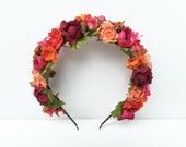 Flower Crown, Floral Crown, Red and Pink, Frida Kahlo Flower Crown, Floral Headband, Day of the Dead Headpiece, Boho, Free People, Crown