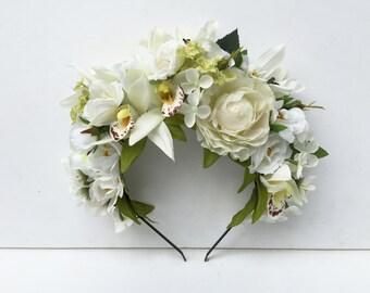 Orchid Bridal Flower Crown - Bohemian Wedding, Tropical, Orchid Flower Crown, Floral Crown, Tropical Wedding, Headband, Bridal Headpiece