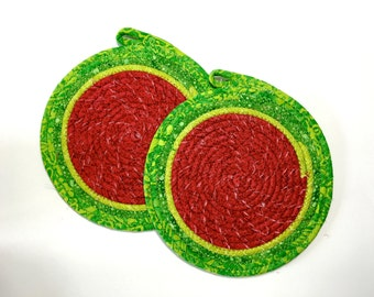 Watermelon Clothesline Coiled Rope Trivets - Mouse Pads - Pair of 2 Snack Mats - Handmade Fabric Placemat - Mug Rugs - Homemade Candle Mat