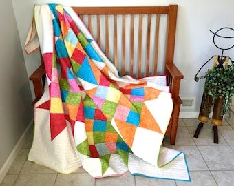 Modern Bright Quilted Lap Throw , Bed Quilt , Interlocked Star Art , Scrappy Quilts , Ready to Ship , Quilts for Sale , Patchwork Dorm Quilt
