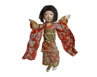 "Antique 1920s Japanese Gofun Geisha Silk Kimono Girl Articulated 12"" Doll"