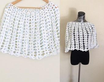 White & blue Poncho, Crochet Cotton Cape, Hand Made in the U S A, Item No. DeBg09