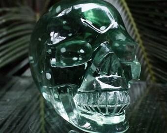 """FANTASTIC CLEAR 4.6"""" Smelted Quartz Carved Crystal Skull 1.96 LB Healing C0611"""