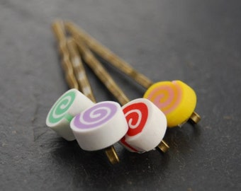 Lollipop Swirl, Bobby Pins, Antique Brass, Children's Hair Accessory