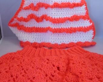 Size 12 Mos Girl's Crochet Halter and Skirt Neon Orange and White