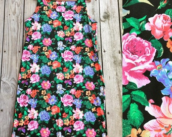 Vtg 80s Mid Length Vibrant Floral Dress