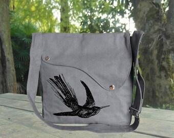 Holiday On Sale 10% off Gray canvas cross body messenger bag with elephant printed, diaper bag, shoulder bag, travel bag, walking bag
