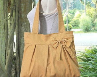 yellow cotton canvas purse with bow / tote bag / shoulder bag / hand bag / diaper bag - zipper closure