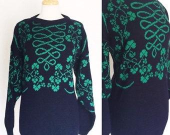 FREE SHIPPING//Vintage Irish emerald isle four lead clover green and royal blue sweatshirt