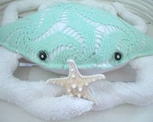 Reserved for Gator Sustah. Nautical Vintage Crochet/Hobnail Chenille Crab Pillow, Sea Green/White, Reverse Painted Glass Eyes.