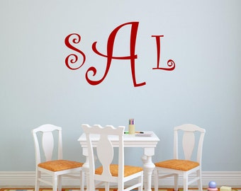 Curly Font Monogram Vinyl Wall Decal Vinyl Lettering Wall Decal Wall Words Playroom Decor Girls Bedroom