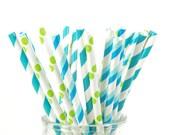 Blue, Green and Aqua Paper Straws - Set of 25 Straws - Boy's Birthday Party - First Birthday