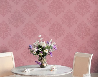 European Floral Damask Wall Stencil - Classic Flowers Wallpaper Stencils - Vintage Style Wall Mural Art