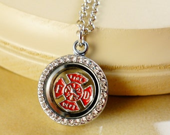 FIREFIGHTER charm in round locket pendant with silver Necklace