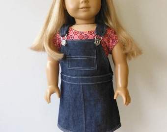 Clothes for American Girl Doll, 18 inch doll clothes, Overall jumper, Denim jumper fits American Girl