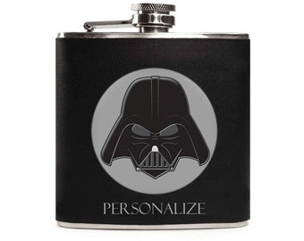 Star Wars Flask, Darth Vader, Black Leather Flask for Men, Geek Gift, Personalized, Stainless Steel 6oz Hip Flask