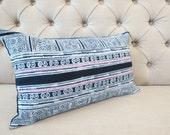 Vintage Indigo batik Hmong cushion cover, Handwoven Hemp Fabric,Throw Pillow,Decorative Pillows