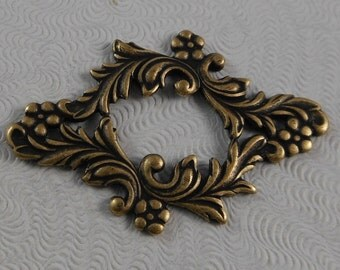 LuxeOrnaments Oxidized Brass Victorian Filigree Floral Focal Frame  (1 pc) G-6196-B