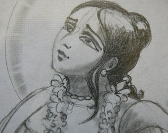 Ecstatic saint Gauranga Mahaprabhu golden avatara divine love syamarts original drawing  graphite on paper+ prints