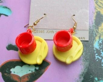 1985 TEA CUP Earrings...kitsch. retro. earrings. new old stock. jewelry. kitschy charms. tea party. novelty. cute. kawaii. kooky. colorful