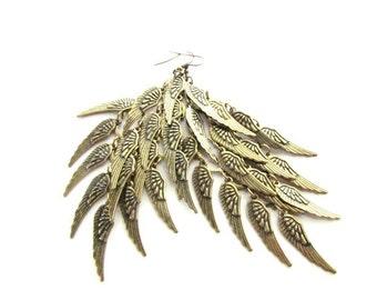 Long Wing Earrings/Wing Charm earrings/Wing Cluster Dangle Earrings