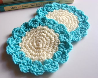 Crochet Sunflower Coasters Set of Two - Floral Flower Drink Coasters Cream And Turquoise Blue Hand Crocheted - Acrylic Yarn