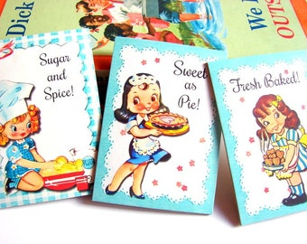 Magnet Set of 3 - Sweet As Pie Waitress Girls Baking Fresh Baked Sugar And Spice Cookies Chefs Hat Bake - Fridge Refrigerator Paper Magnets