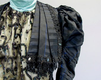 1880s Victorian Black and Blue Silk Sequin Top