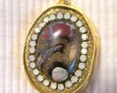 THANKS SALE Koroit Boulder Opal and crystal gold pendant