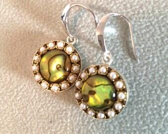 Abalone pearl crystal sterling silver dangle earrings
