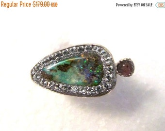 SUMMER SALE Boulder Opal and Pink tourmaline sterling silver Ring