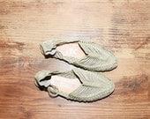 Vintage Woven Leather Sandals,  Woven Flat Shoes sz. 7
