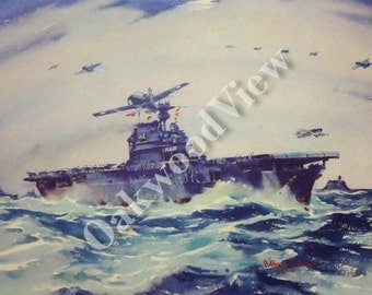 USS Enterprise Print by Arthur Beaumont, World War 2 Navy Aircraft Carrier Print, Vintage 10x13 Naval Ship Art c1940s, FREE SHIPPING