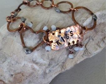 Copper Hammered Chain Bracelet  with KISS Link and Tiny Faceted Glass Beads