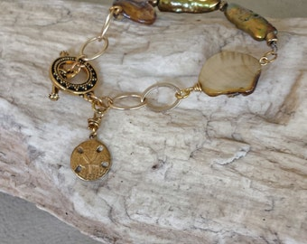 Pearl-Mother of Pearl-Sand Dollar Bronze/Brass Bracelet