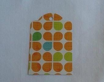 Fun Orange and Blue Flower gift tag set... Set of 6...