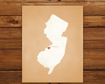 Customized Printable New Jersey State Map - DIGITAL FILE, Aged-Look Personalized Wall Art