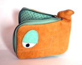Earth and Water polka dot Whale wallet, genuine recycled leather