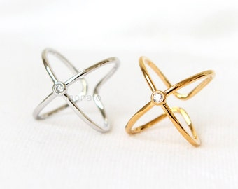 A CZ X Ring / criss cross ring, adjustable ring, gold and silver