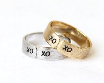 XOXO Band Ring / xoxo, adjustable ring, gold, silver, pink gold