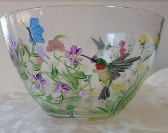 Hand painted glass bowl with wildflower and hummingbird pattern.