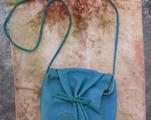 80s Vintage Carlos Falchi Crossbody Turquoise Leather Purse