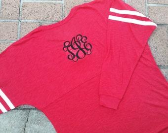 Monogrammed Long Sleeve Varsity T-Shirt - RED