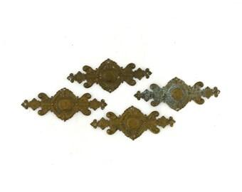 Antique set 1800s French Ormolu Brass Furniture Fittings, French brass furniture hardware, ornate brass