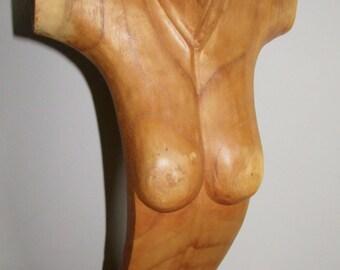 Carved Solid Wood Female Torso Bust Half Mannequin
