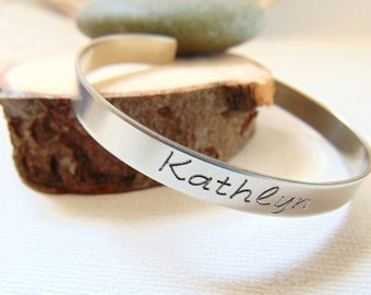 Personalized Cuff Bracelet, silver message bangle, text layered bracelet, Customized bridesmaid cuff, stamped Bracelet, engraved quote band