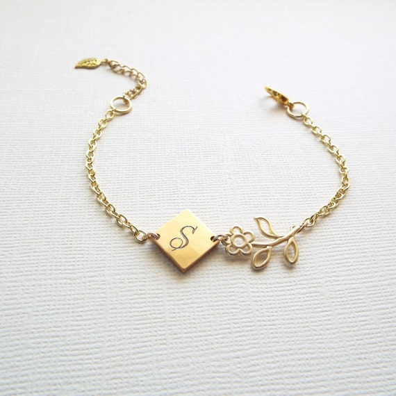 Engraved Charm Bracelet: Items Similar To Engraved Initial Charm Bracelet