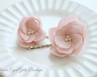 Pink Bridal Flower Hair Clip Duo, Pale Pink Wedding Hair Accessory